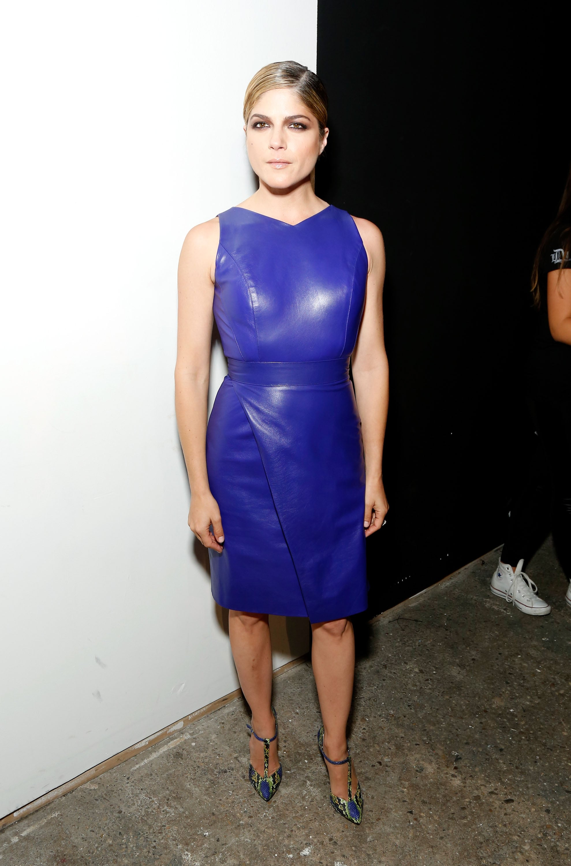 Selma Blair sported a sexy leather dress for the Christian Siriano runway show on Saturday.