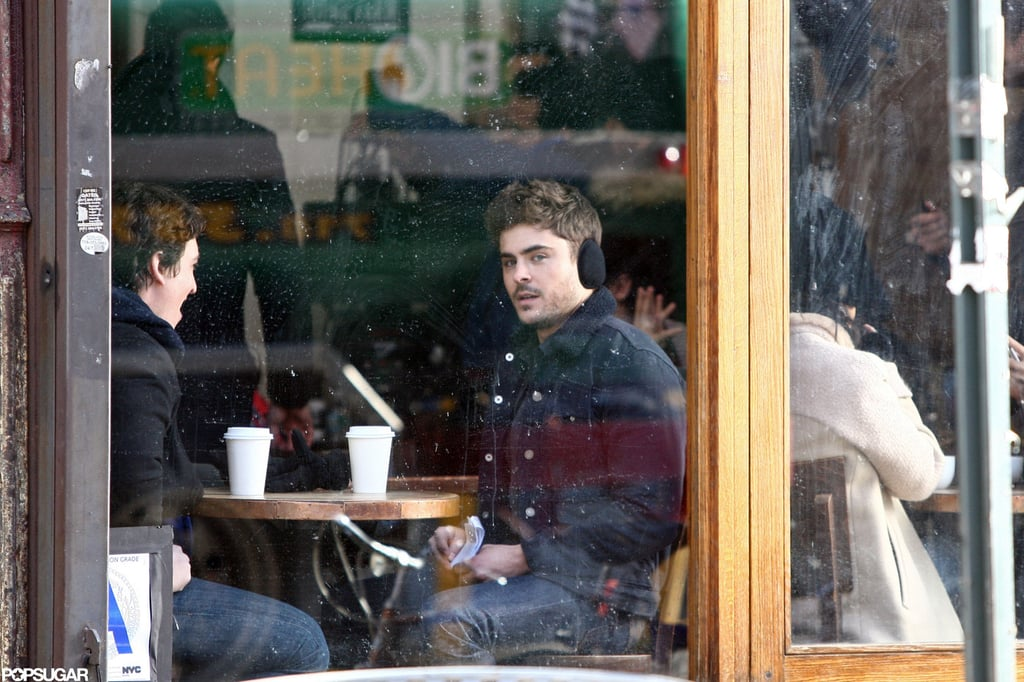 Zac Efron filmed in a coffee shop for Are We Officially Dating? in NYC.