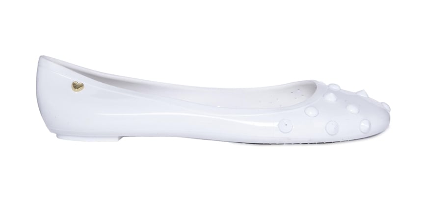 Love Moschino Studded White Flat Jelly Shoes ($130)