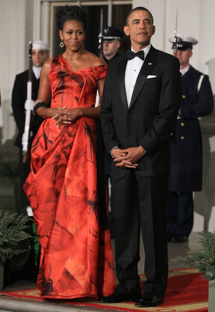 Michelle Obama wearing an Alexander McQueen dress for the China state dinner in 2011.