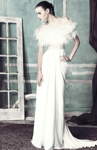 Forget black; white feathers are a fresh way to go about the holidays.