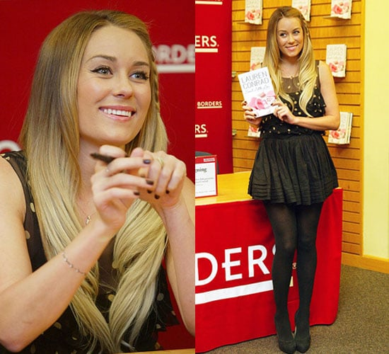 Lauren Conrad Wearing Polka Dot Top at Borders Book Signing in Virginia