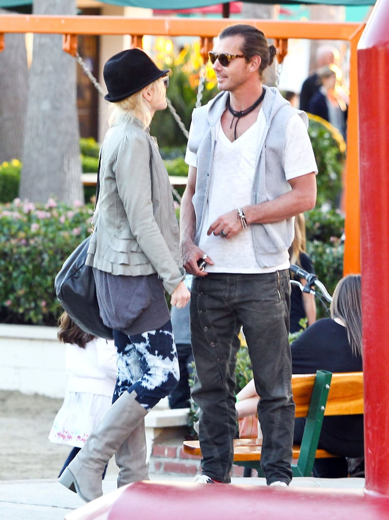 Gwen and Gavin shared a chat outside while the boys played.