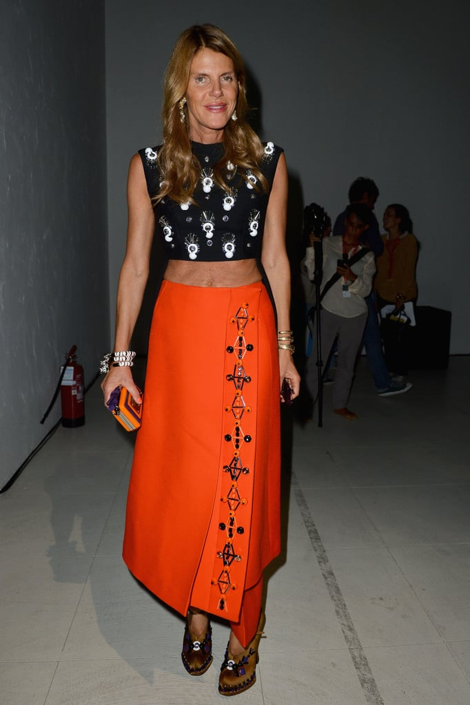 Anna Dello Russo bared her midriff at the Jo No Fui show in an embellished crop top and bold, orange maxi skirt.