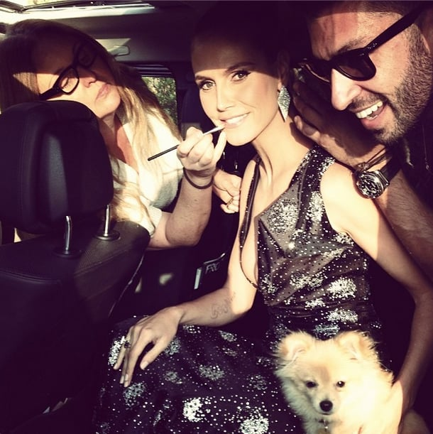 Before she sped away, Heidi Klum finished primping for the People's Choice Awards. Source: Instagram user heidiklum