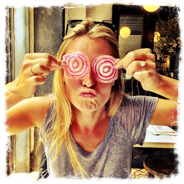 Cat Deeley played with her food. Source: Instagram user catdeeley