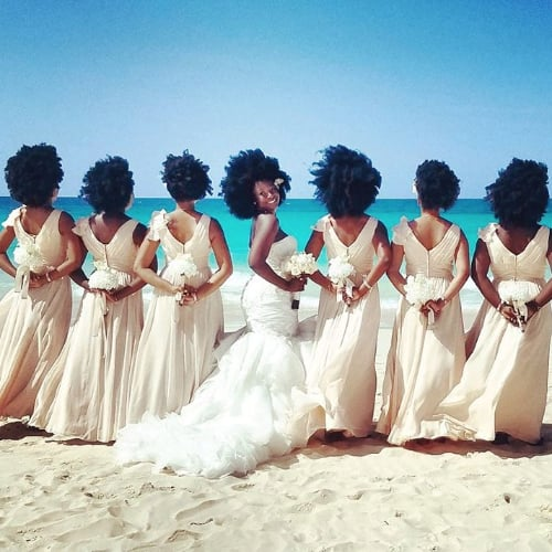 Bridesmaid Dresses From Natural-Hair Wedding June 2016