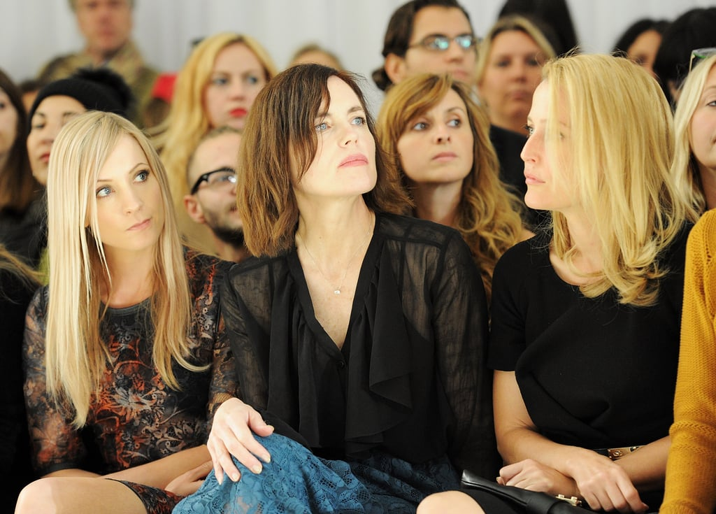 Janne Froggatt, Elizabeth McGovern, and Gillian Anderson sat next to each other at the Mulberry show during LFW.