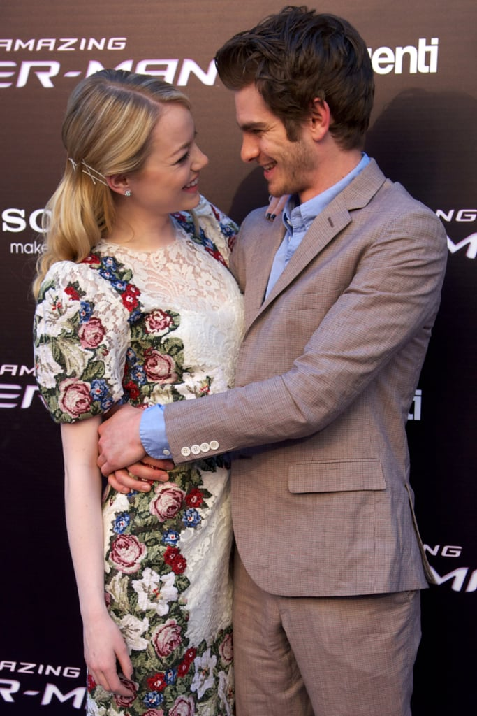 Emma Stone and Andrew Garfield continued their The Amazing Spider-Man press tour through Europe.