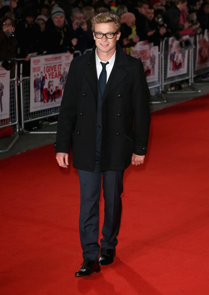 Simon Baker looked handsome at the London premiere of I Give It a Year on Jan. 24.