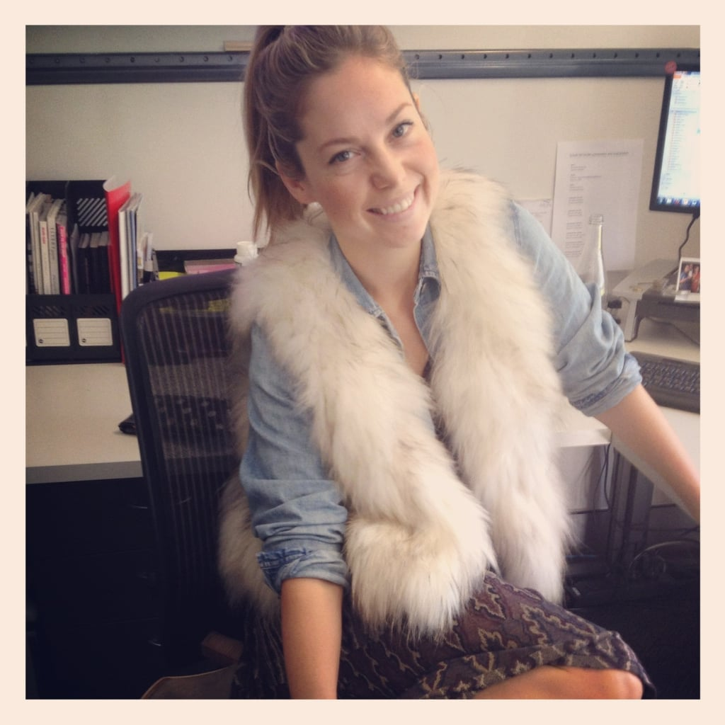 Fabsugar editor Ali was looking glam in her Isabel Marant dress, Ralph Lauren shirt and Watson X Watson vest.