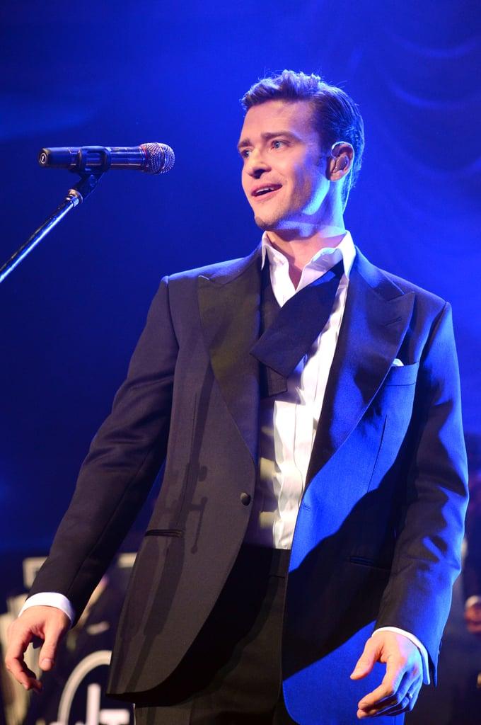Justin Timberlake sang at a Grammys afterparty.