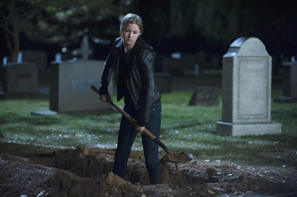 Emily is perfectly content digging up a grave/making a hole to bury someone. (Who really knows?)