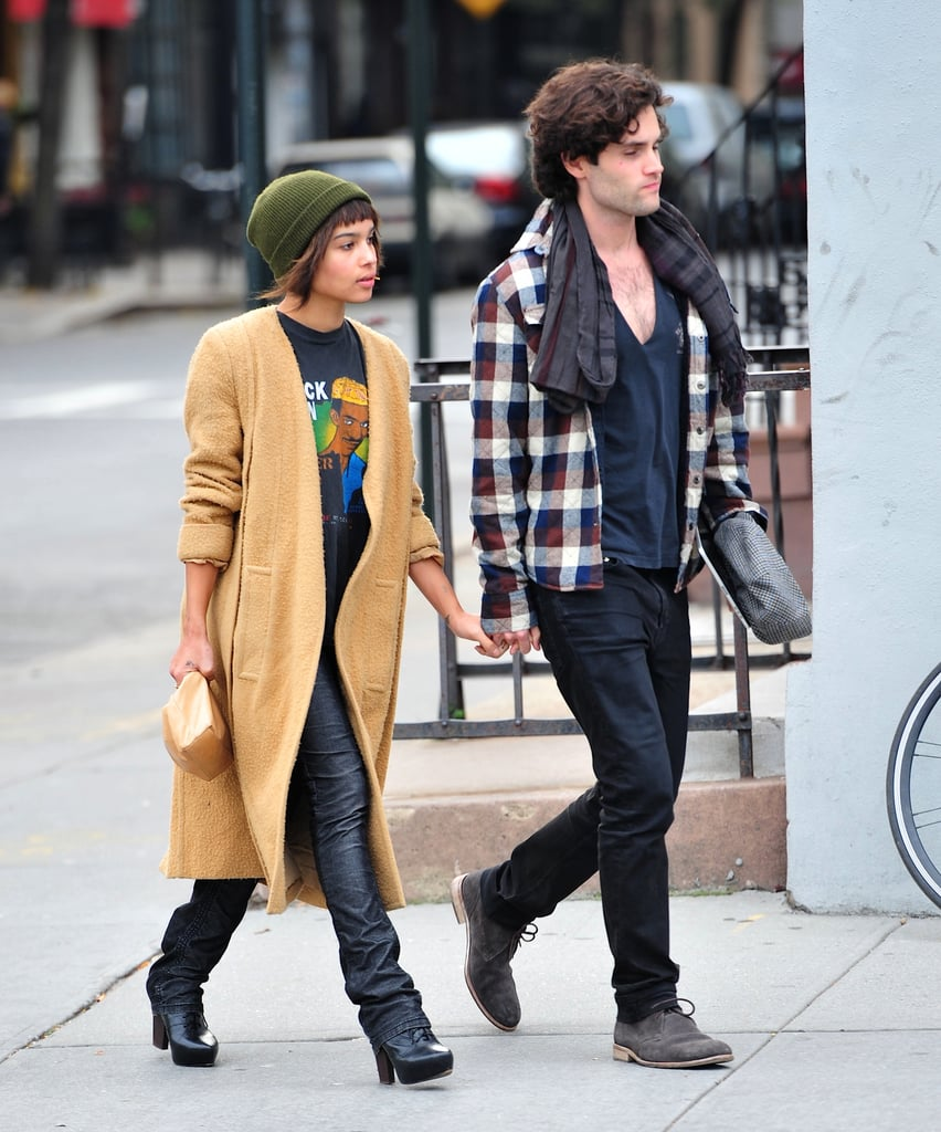 Zoë Kravitz showed off her fashion chops by working an effortless daytime ensemble in NYC, which included a long camel coat and a green ribbed beanie.
