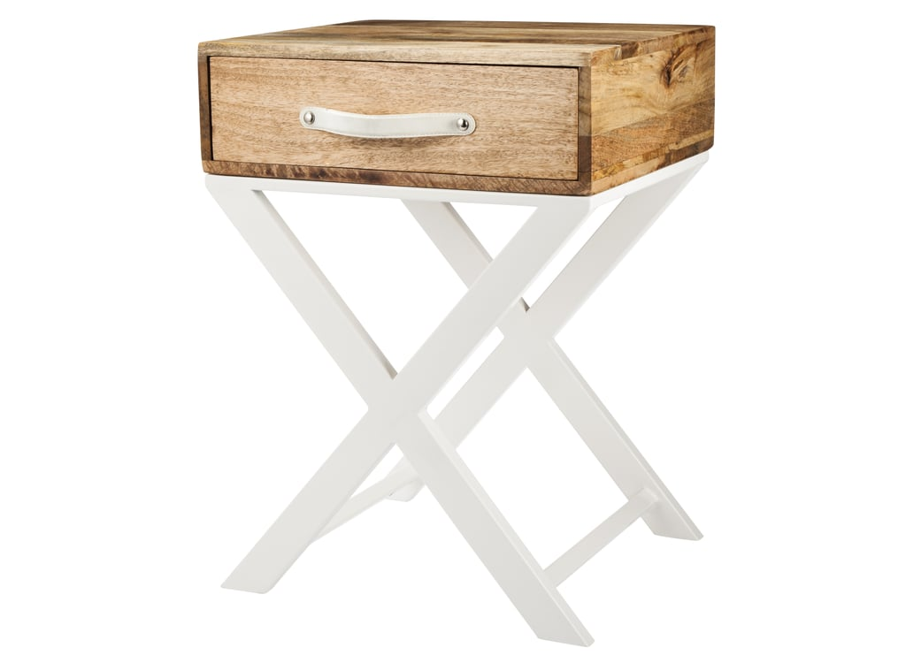 The wooden top and glossy base on this accent table ($90) offer the best of both worlds.