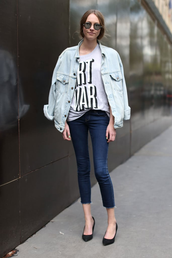 An oversize denim jacket gives your skinnies a trendy, '90s-feeling update.