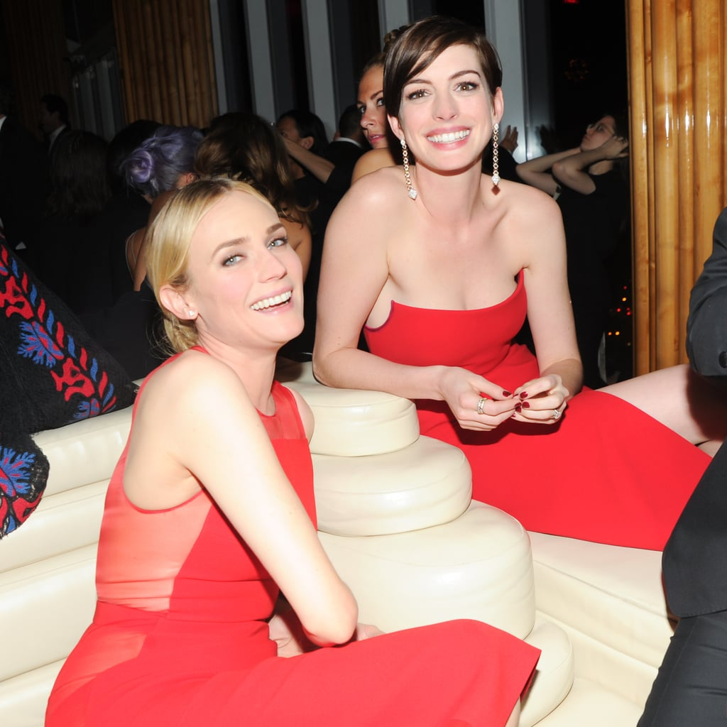 Anne Hathaway and Diane Kruger smiled big after the ball.
