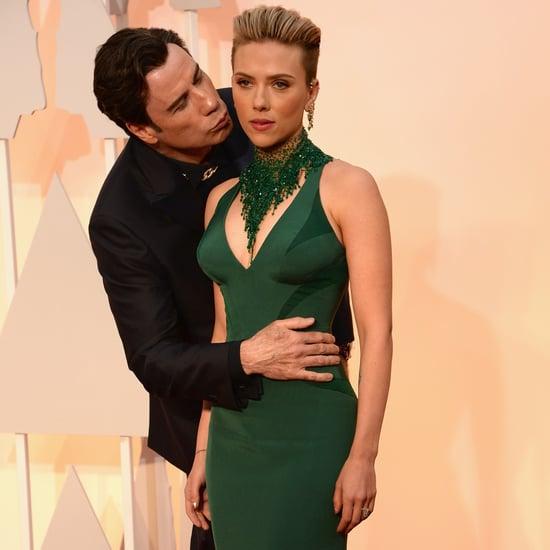 John Travolta and Scarlett Johansson at the Oscars 2015