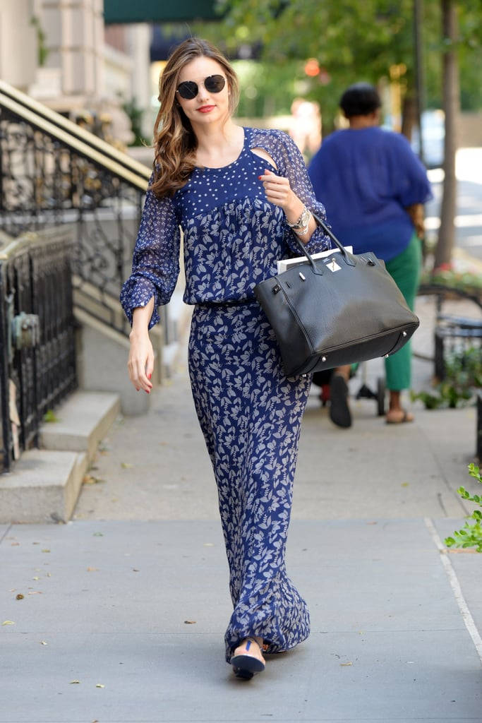 We love it when Miranda goes for a natural look, and this bohemian, mixed-print maxi is a prime example. With loose waves and flat sandals, she gives off major beach vibes — even if she is just walking down the street in New York City.