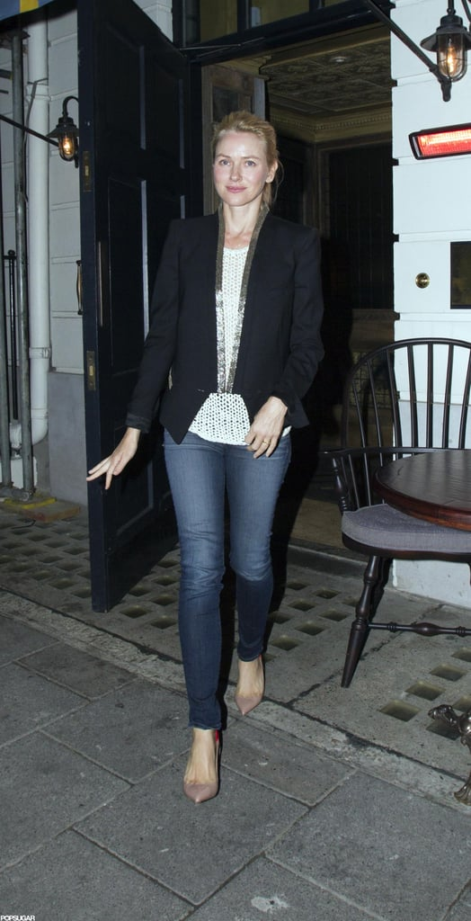 Naomi Watts stepped out of a London night club.