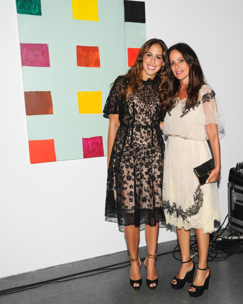 Chloe Curtis complemented Jill Stuart's lacy black and cream design at the Summer party for Water Mill's Parrish Art Museum.
