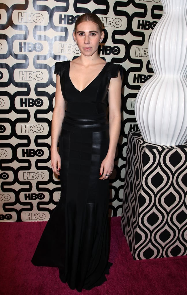 Zosia Mamet hit up the HBO afterparty in a floor-length body-hugging black gown, but what we love most about this creation are the edgier capped sleeves.