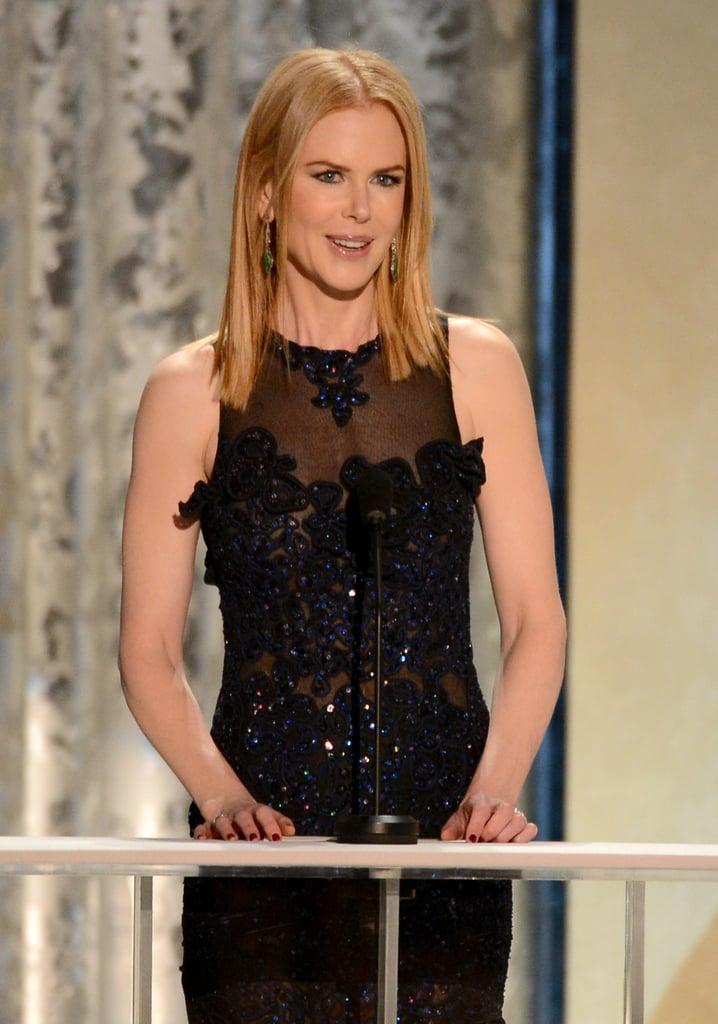 Nicole Kidman wore a blue Vivienne Westwood gown.
