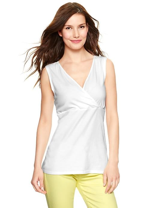 We love the basic look of this Gap crossover nursing tank ($23) — the v-neck is great for high temps and versatile enough to pair with either skirts or shorts.
