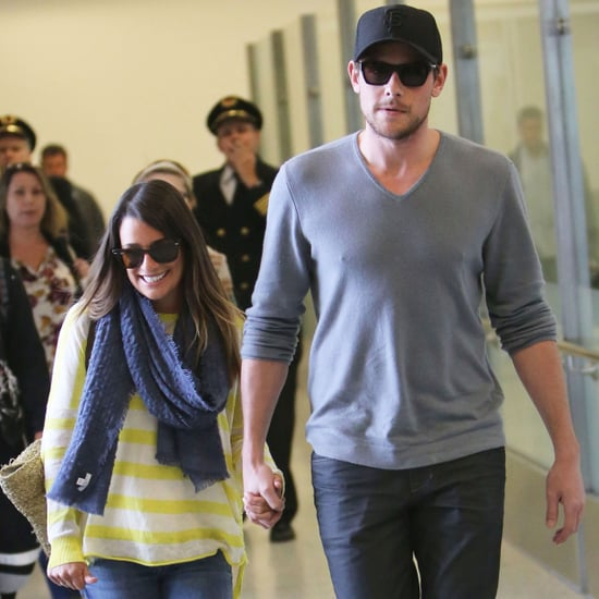 Lea Michele Holds Hands With Cory Monteith at LAX