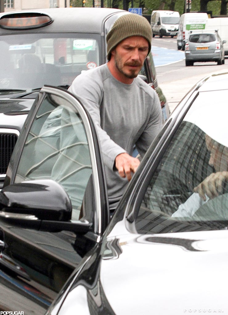 David Beckham got into his car after a jog in London.