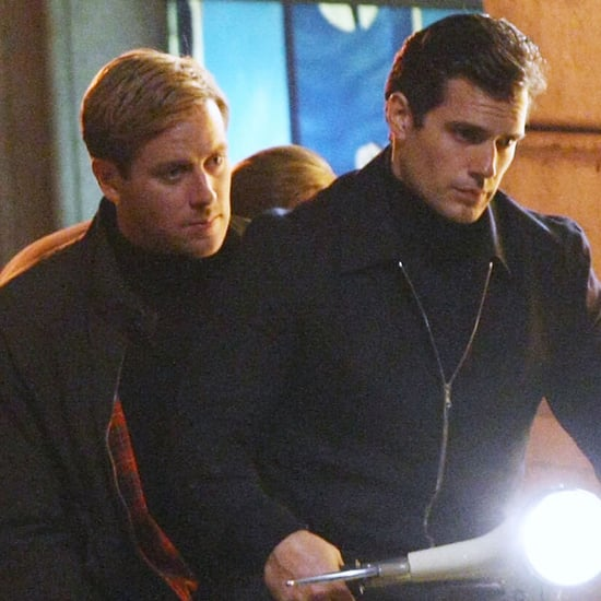 Henry Cavill and Armie Hammer on a Vespa on Set