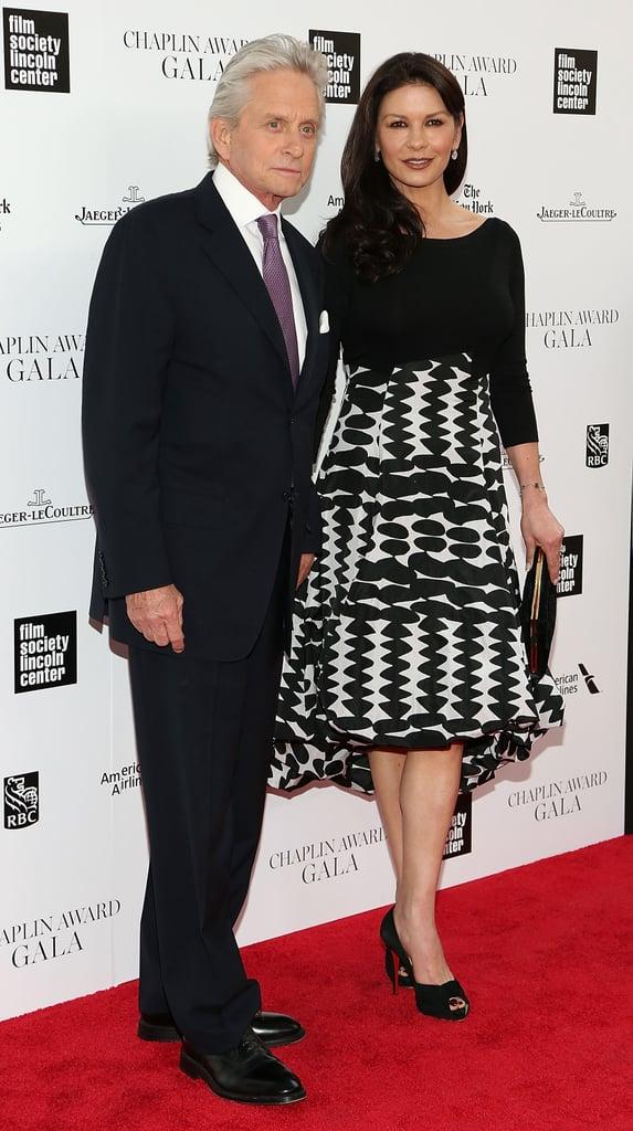 Michael Douglas and Catherine Zeta-Jones held hands on the red carpet at Monday night's Chaplin Award gala in NYC.