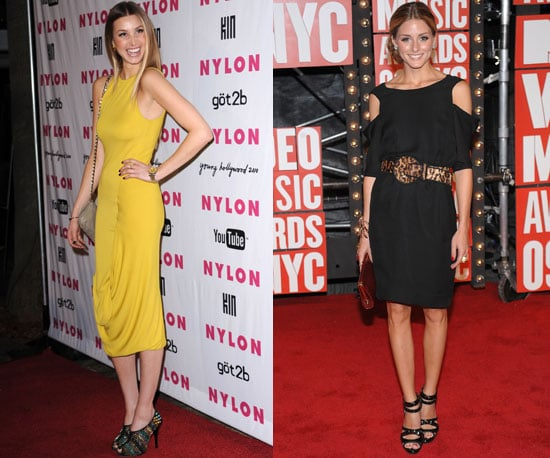 Fab red carpet looks: Whitney rocks a bold color; Olivia stays with black but goes wild with accessories.