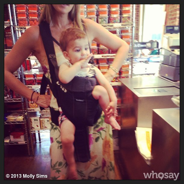 Molly Sims realized she didn't quite put Brooks in his carrier the right way! Source: Instagram user mollybsims