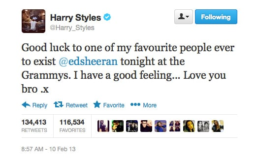 Unfortunately, Harry's good feelings didn't translate to reality. . . But the sentiment was lovely!