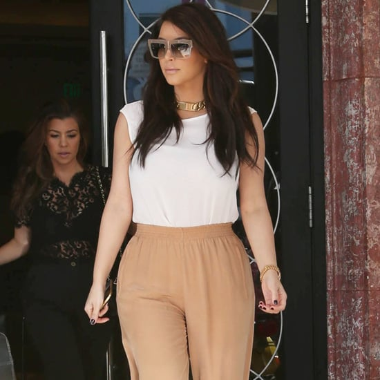 Kim Kardashian Wearing Wide Leg Pants