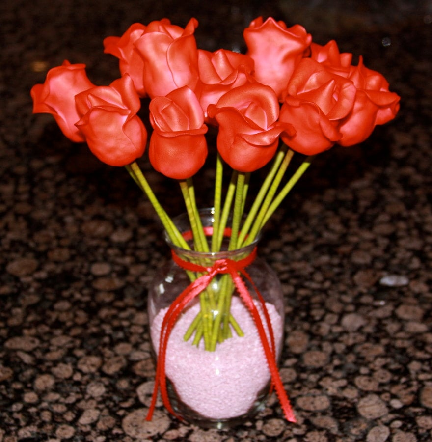 A Dozen Sweet Red Rose Cake Pops