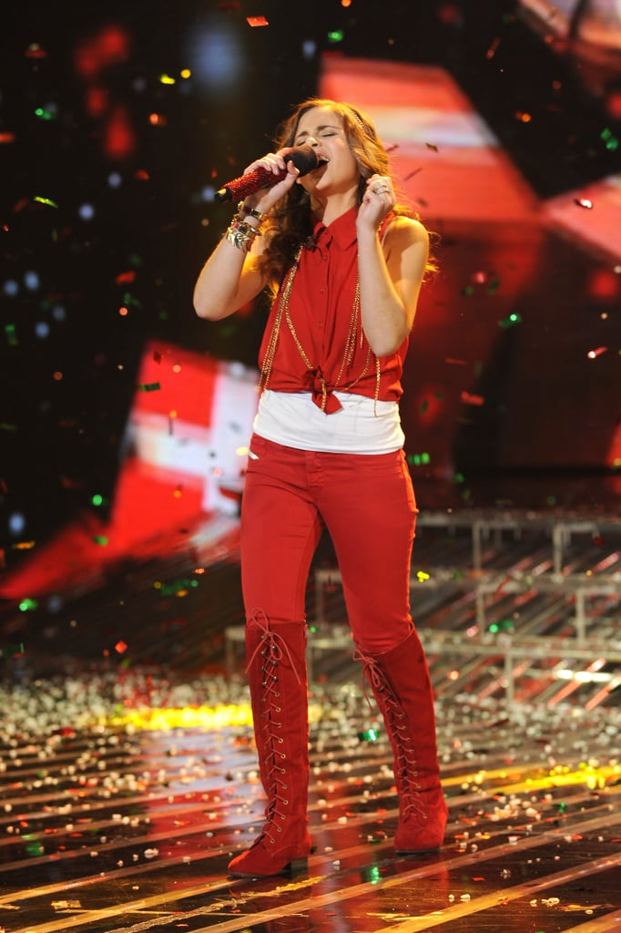 Carly Rose Sonenclar performed in a red outfit.