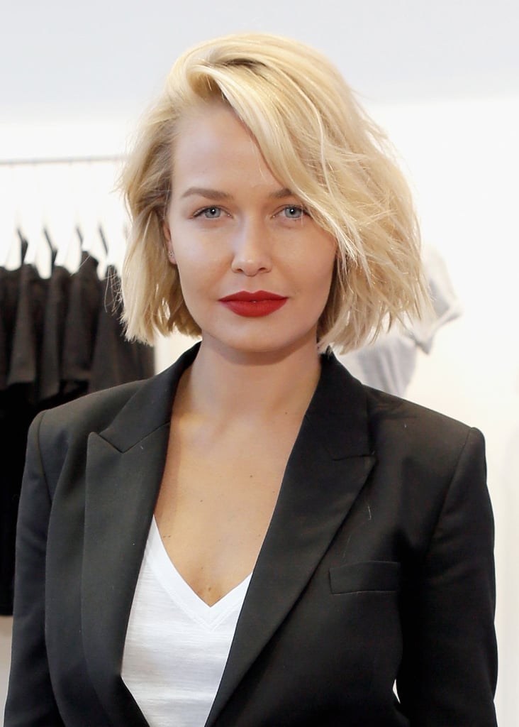 Lara showcased her new bob and statement red lip at the launch of Cotton On's The One in Santa Monica in May 2014.