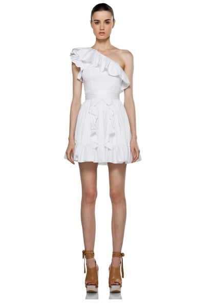 The ruffles and flirty length make this an adorable look for prewedding cocktails.  Rachel Zoe Isabelle Ruffle Dress in White ($375)
