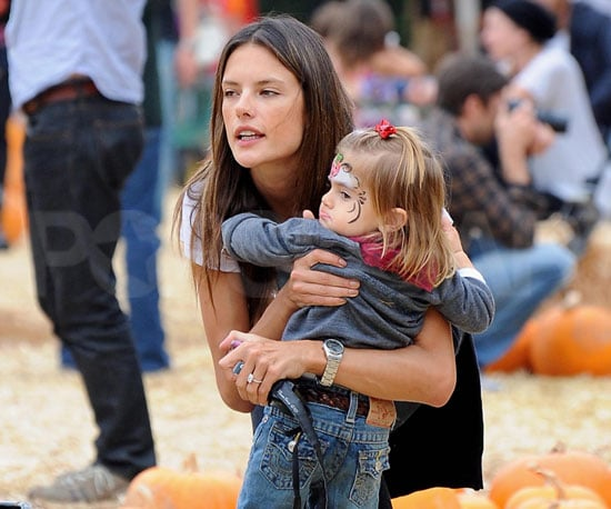 Slide Picture of Alessandra Ambrosio and Anja Mazur at Mr. Bones Pumpkin Patch in LA
