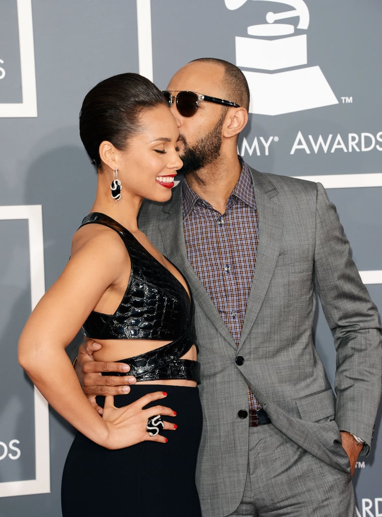 Swizz Beatz kissed wife Alicia Keys on the red carpet at the 2013 Grammy Awards.