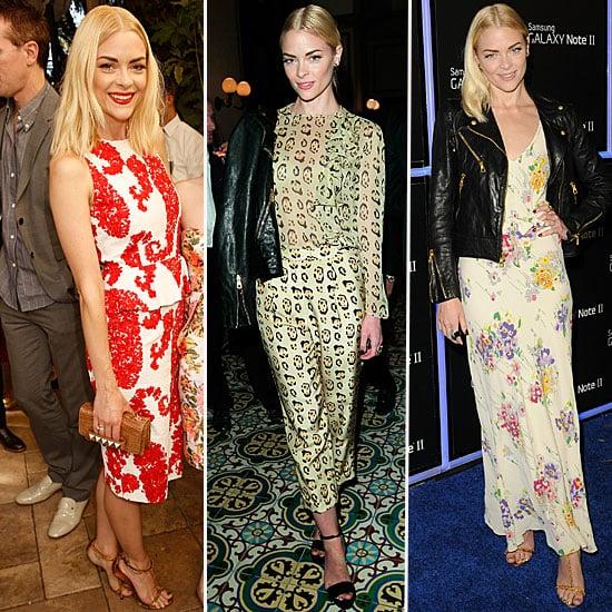 Jaime King Style: Floral Dress, Printed Suit, Leather Jacket