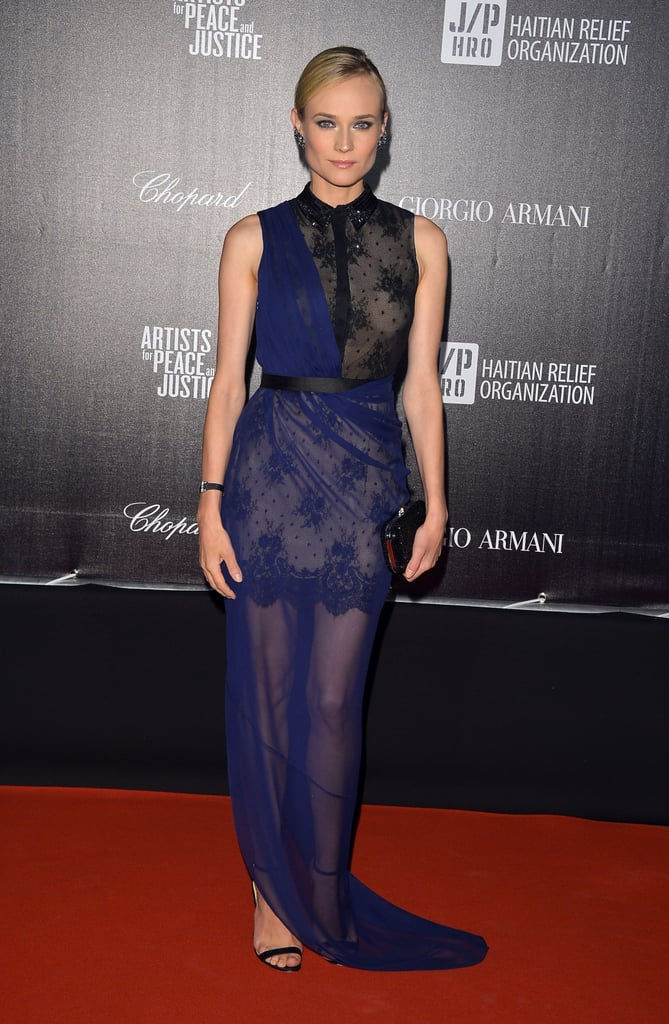 Diane Kruger wore a navy and black lace Jason Wu gown at the Haiti Carnival in Cannes event.