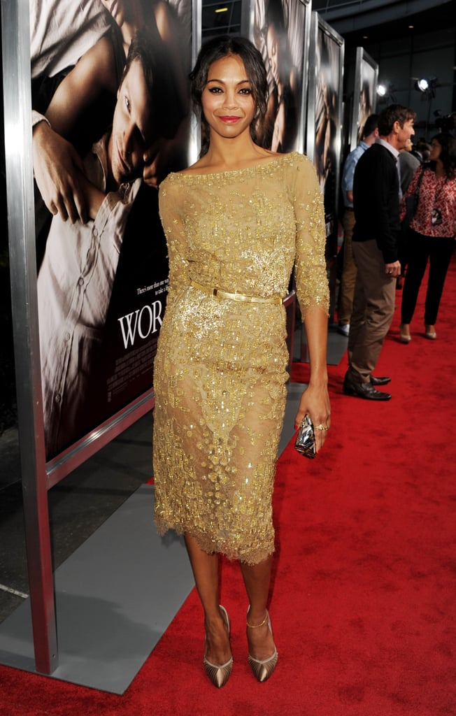 Zoe Saldana won fashion gold with her embellished Elie Saab dress and Brian Atwood heels.