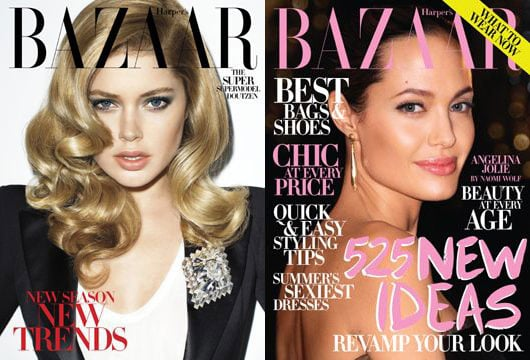 Doutzen Kroes and Angelina Jolie on July Cover of Harper's Bazaar