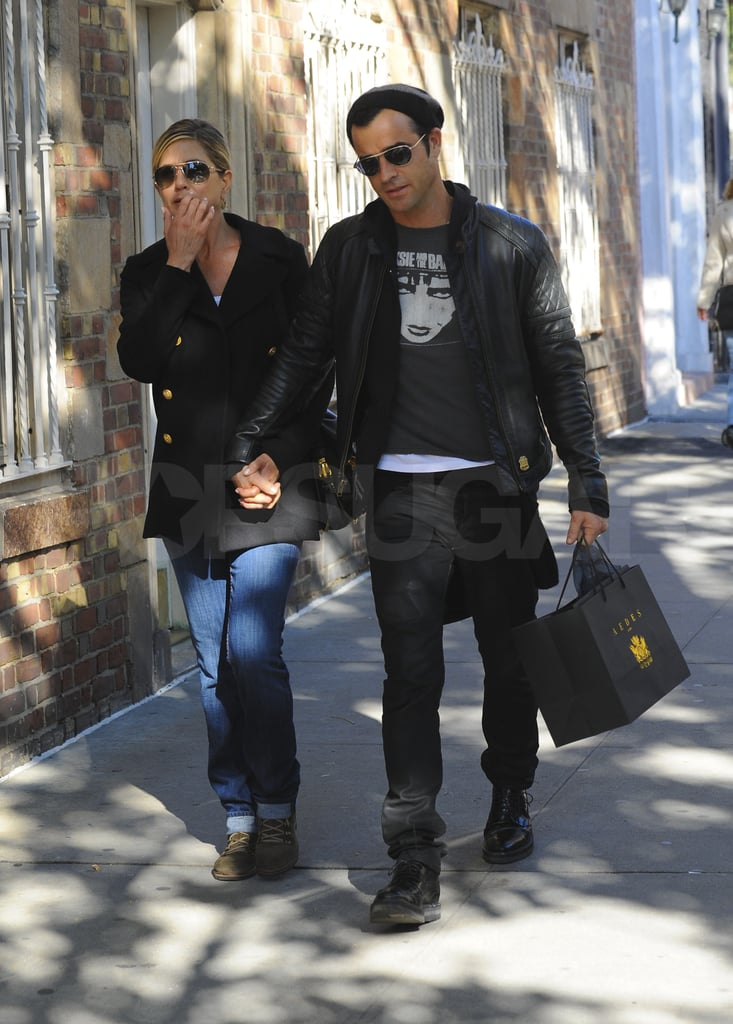 Jennifer Aniston and Justin Theroux out in NYC.