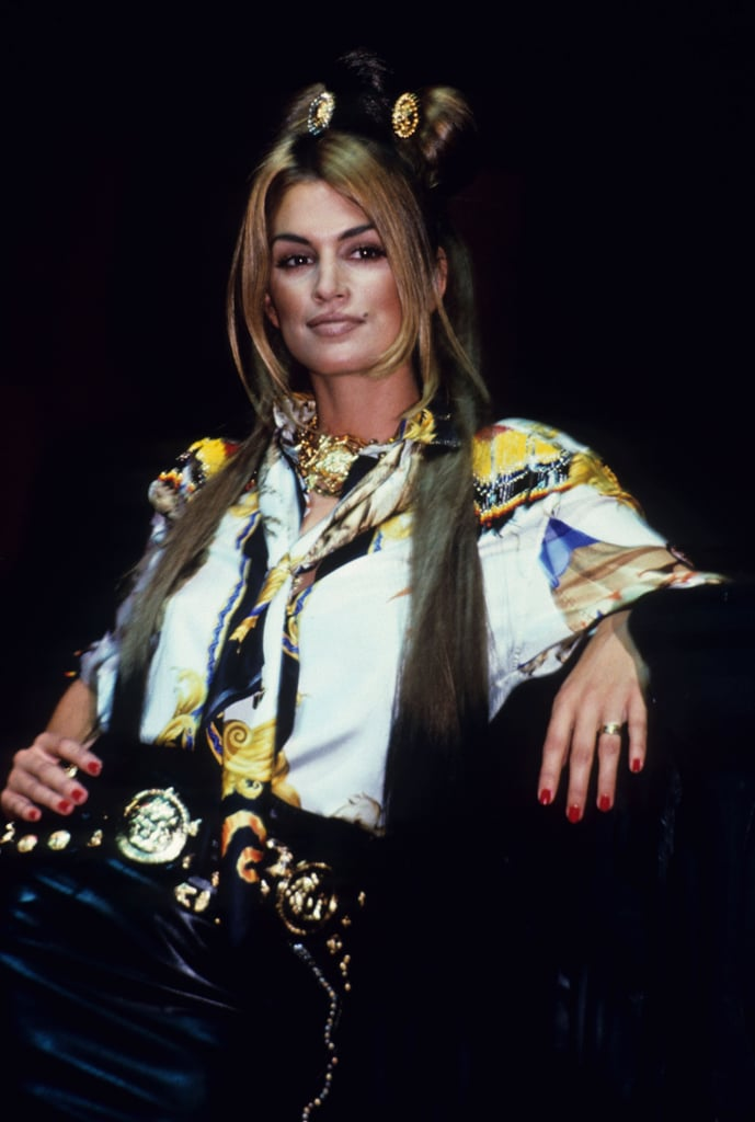 Cindy Crawford presided over Versace's Rock N' Rule amfAR benefit in 1992.