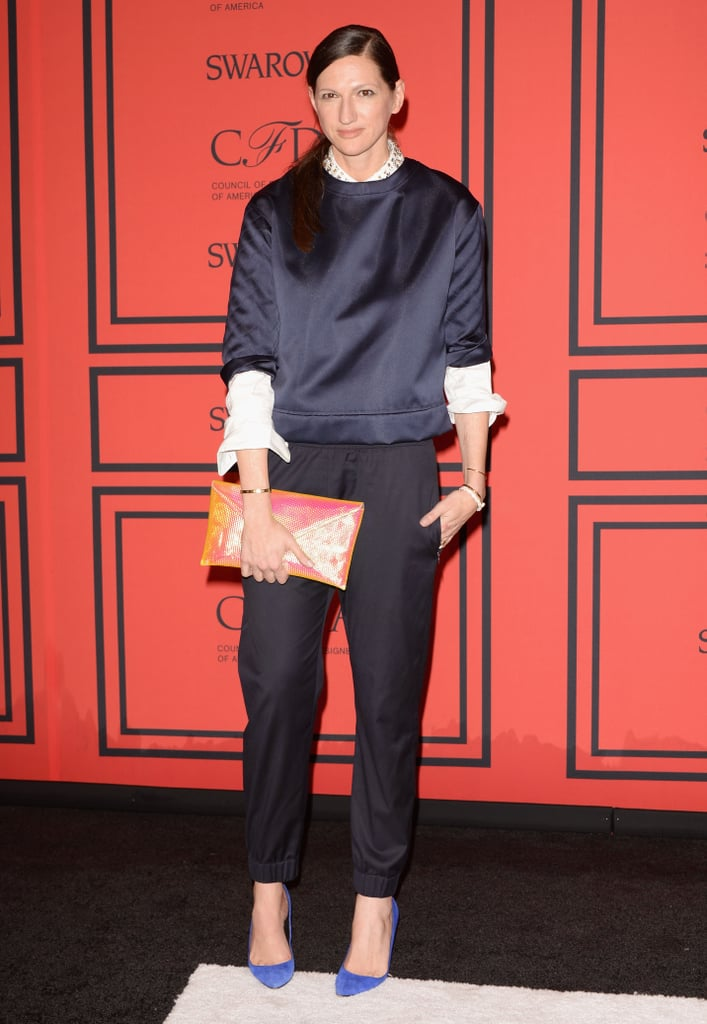 J.Crew's Jenna Lyons kept things casual, donning this relaxed shell top and trouser ensemble for the CFDAs. Statement-making accessories kept things dress; note her bejewelled collar, punchy clutch and sapphire pumps.