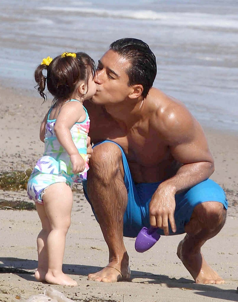 Mario Lopez kissed his daughter, Gia Lopez, at an LA beach on Sunday.